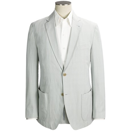 Kroon Stretch Cotton Sport Coat - Subtle Plaid (For Men) in Light Blue/Taupe