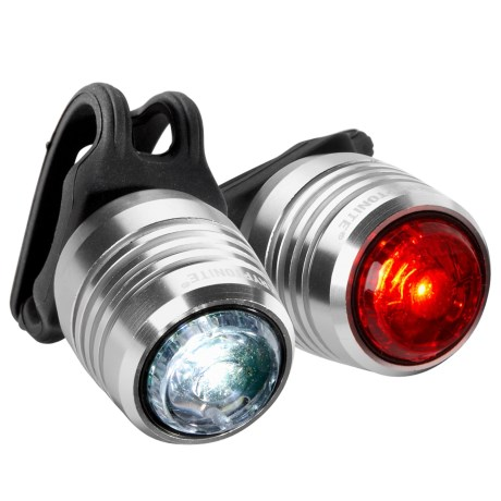 Kryptonite Boulevard F-14 and R-3 Bike Light Set - 14/3 Lumens, Rechargeable in Silver