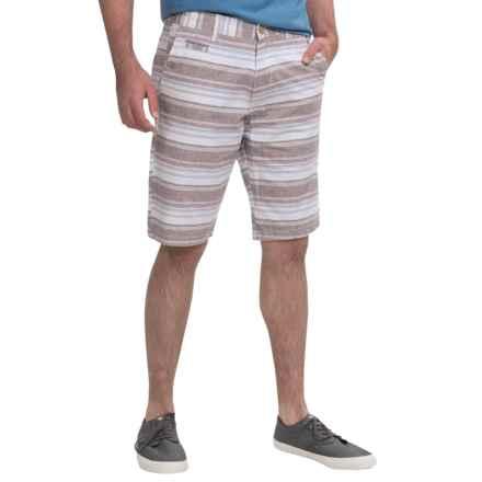 Kudeta Casual Cotton Stripe Shorts (For Men) in Burgundy - Closeouts