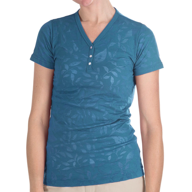 Kuhl Flora Burnout Henley Shirt Short Sleeve For Women