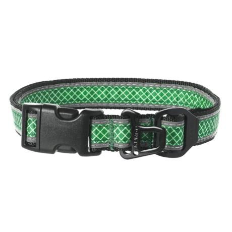 Kurgo Wander Dog Collar Reflective Hatch in Grass Green