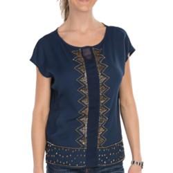 KUT from the Kloth Ayla Chiffon Blouse - Short Sleeve (For Women) in Indigo