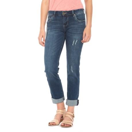 KUT from the Kloth Cuffed Boyfriend Jeans- Straight Leg (For Women) in Blue Denim