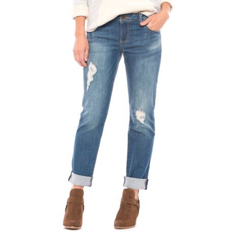 KUT from the Kloth Destructed Cuff Jeans (For Women) in Blue Denim