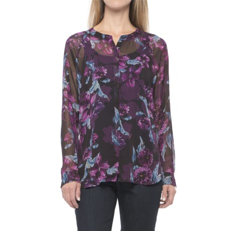 KUT from the Kloth Floral Shirt - Long Sleeve (For Women) in Violet/Black