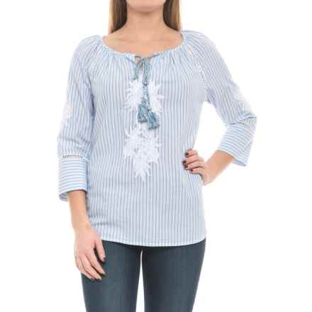 KUT from the Kloth Inaya Shirt - 3/4 Sleeve (For Women) in Blue/White - Closeouts