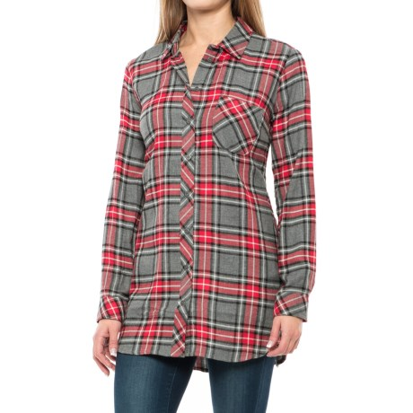 KUT from the Kloth Plaid Shirt - Long Sleeve (For Women) in Grey/Red