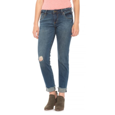 KUT from the Kloth Roll-Up Fray Jeans - Straight Leg (For Women) in Blue Denim
