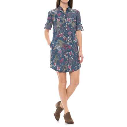 Kut from the Kloth TENCEL® Floral Dress - Long Sleeve (For Women) in Blue/Pink - Closeouts