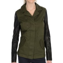 KUT from the Kloth Weston Military Jacket - Faux-Leather Sleeve (For Women) in Olive - Closeouts