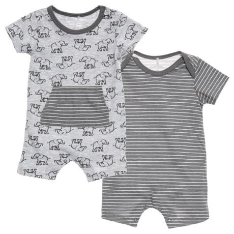 Kyle & Dee Pouch Pocket Elephant Romper -2-Pack (Newborn Boys) in Grey