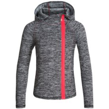 Kyodan Asymmetrical Zip Hooded Jacket (For Big Girls) in Black Melange/Electric Shock - Closeouts