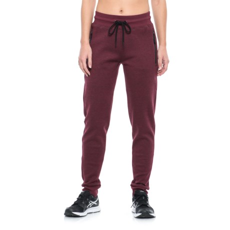 Kyodan Joggers with Front Zip Pockets (For Women) in Burgandy Melange