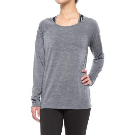 Kyodan Low-Back Shirt - Scoop Neck, Long Sleeve (For Women) in Pewter Mix