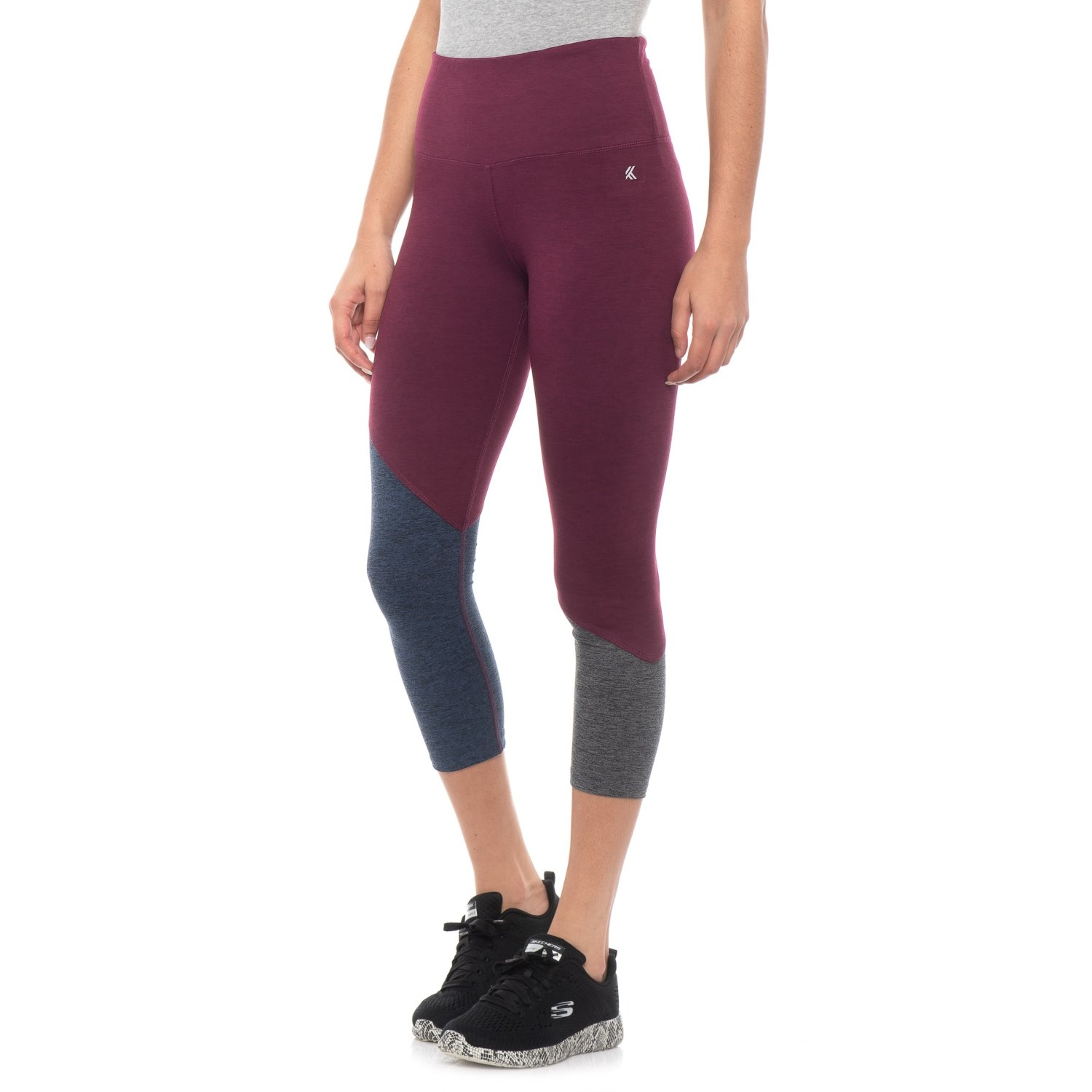 2eb319558d03 Kyodan Moss Jersey Color-Block Capris (For Women) in Jewel Heather Combo ...
