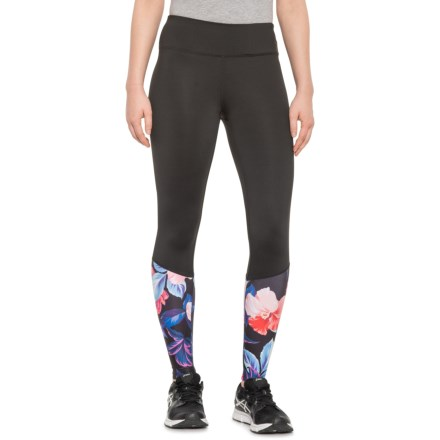 899789df5b5cd Kyodan Print and Solid Contrast Leggings (For Women) in Black/Floral -  Closeouts