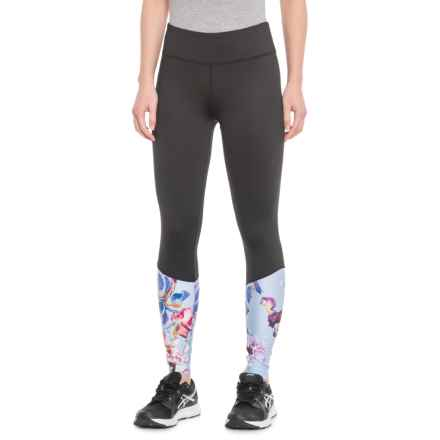 Kyodan Print and Solid Contrast Leggings (For Women) in Black/Spring Floral - Closeouts