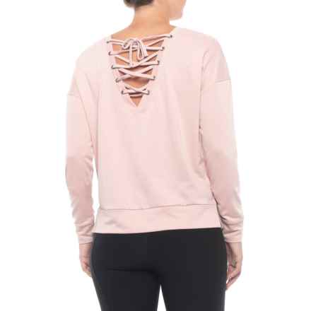 Kyodan Pullover Open Crisscross Back Shirt - Long Sleeve (For Women) in Blush Melange - Closeouts