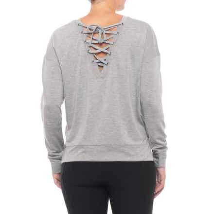 Kyodan Pullover Open Crisscross Back Shirt - Long Sleeve (For Women) in Grey Mix - Closeouts