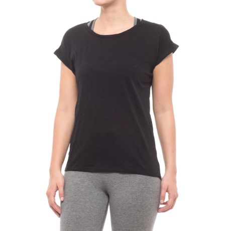 Kyodan Scoop Neck Shirt - Short Sleeve (For Women) in Black Mix