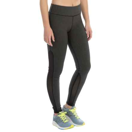 Kyodan Side Mesh Running Tights - UPF 40+ (For Women) in Black Melange - Closeouts