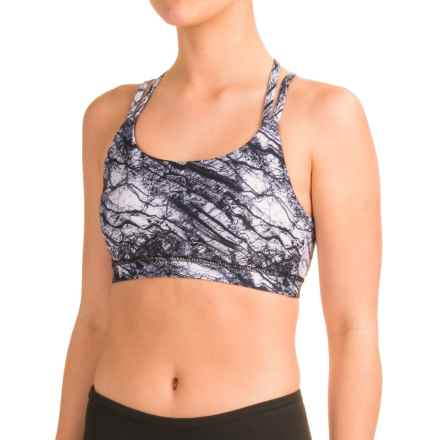 Kyodan Strappy Crop Sports Bra - Medium Impact (For Women) in Marble Ink Print - Closeouts