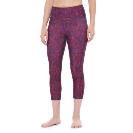 Kyodan Yoga Printed Capris - High Rise (For Women) in Floral Ornament