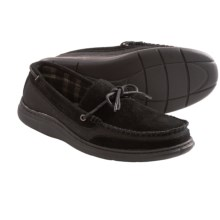 L. B. Evans Langford Moccasin Slippers - Canvas-Suede (For Men) in Black - Closeouts