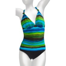 La Blanca by Rod Beattie Mio Swimsuit - 1-Piece, Push-Up (For Women) in Rainbow Royal Blue - Closeouts