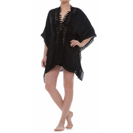 La Blanca Costa Bravo Crochet Trim Kimono Cover-Up - Elbow Sleeve (For Women) in Black