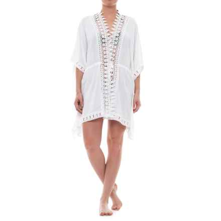 La Blanca Costa Bravo Crochet Trim Kimono Cover-Up - Elbow Sleeve (For Women) in White - Closeouts