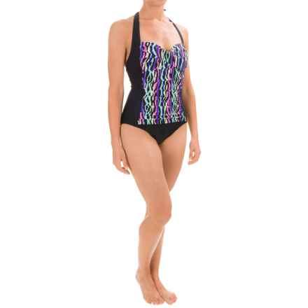 La Blanca Front Twist Sweetheart Mio One-Piece Swimsuit (For Women) in Black/Multi Stripe - Closeouts