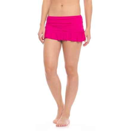 La Blanca Island Goddess Skirted Hipster Bikini Bottoms (For Women) in Berry - Closeouts