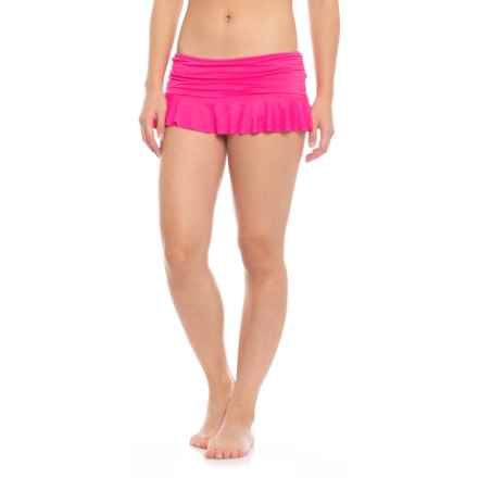 La Blanca Island Goddess Skirted Hipster Bikini Bottoms (For Women) in Flamingo - Closeouts