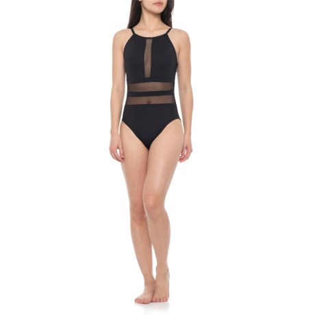 f6e9e2ed92 La Blanca Mesh High-Neck One-Piece Swimsuit - Padded Cups (For Women