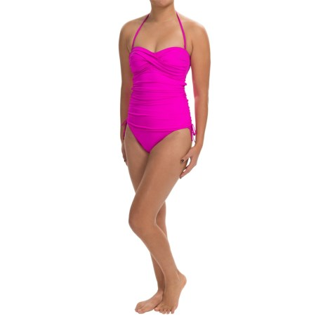 La Blanca One Piece Bandeau Swimsuit Side Cinched (For Women)