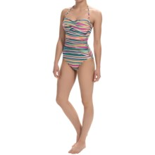 La Blanca One-Piece Printed Bandeau Swimsuit (For Women) in Multi Stripe - Closeouts
