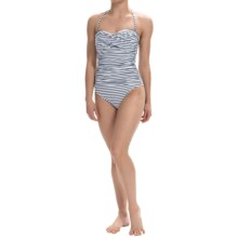 La Blanca One-Piece Printed Bandeau Swimsuit (For Women) in Navy Stripe - Closeouts