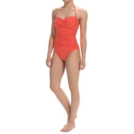 La Blanca One-Piece Printed Bandeau Swimsuit (For Women) in Wintage Red Dot - Closeouts