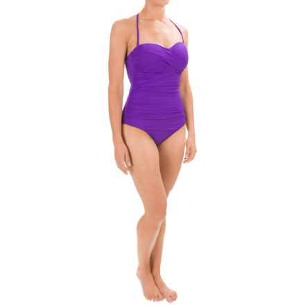 La Blanca Strapless Bandeau One-Piece Swimsuit - Padded Cups (For Women) in Eggplant - Closeouts