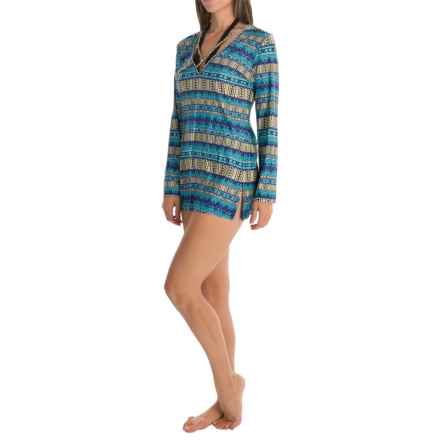 La Blanca Strappy V-Neck Tunic Cover-Up - Long Sleeve (For Women) in Marrakesh - Closeouts