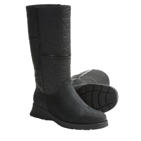 La Canadienne Atlanta Boots - Leather-Nubuck, Faux-Shearling Lining (For Women) in Black