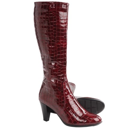 La Canadienne Mebelle Tall Boots (For Women) in Cherry Croco