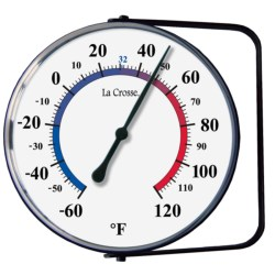 "La Crosse Technology 5"" Analog Thermometer with Mounting Bracket in White/Black"