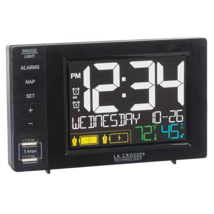 La Crosse Technology Alarm Clock Charging Station in Black - Closeouts