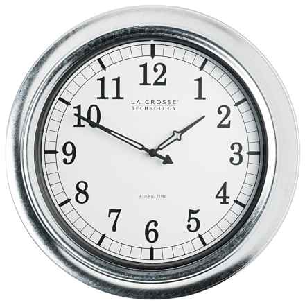"La Crosse Technology Atomic Indoor/Outdoor Galvanized Clock - 18"" in Metal - Closeouts"