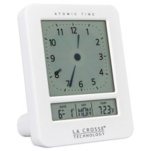 La Crosse Technology Digital Analog Alarm Clock in White - Closeouts