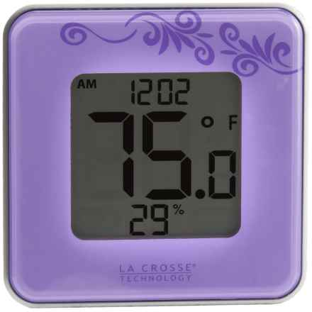 La Crosse Technology Indoor Comfort Level Thermometer and Clock in Purple - Closeouts