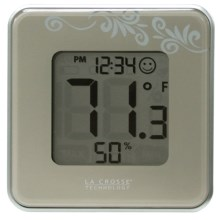 La Crosse Technology Indoor Comfort Level Thermometer and Clock in Silver - Closeouts