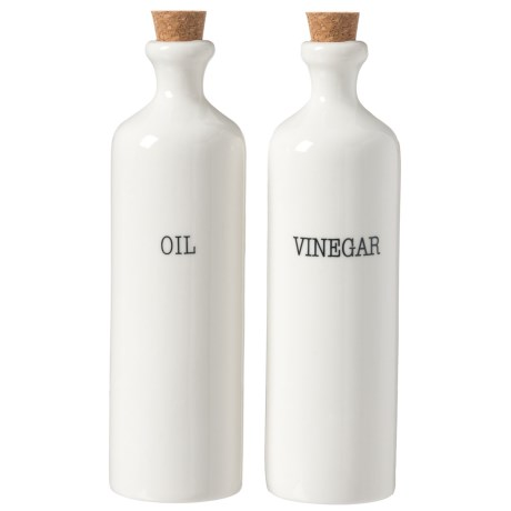 La Cucina Olive Oil and Vinegar Bottles - 14 oz. Each, Set of 2 in White